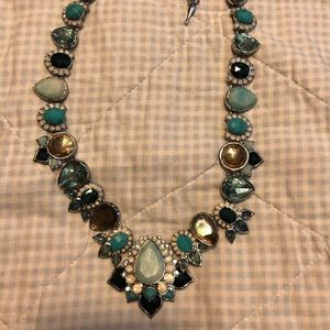Peacock plume statement necklace